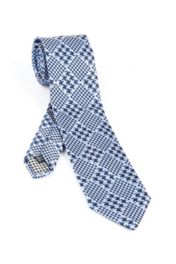 Pure Silk French blue with Sky Blue Houndstooth design Tie by Canaletto V1033  Canaletto - Italian Suit Outlet