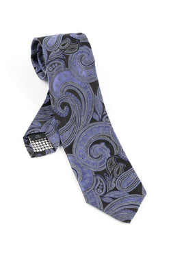 Pure Silk black and lavender paisley pattern Tie by Canaletto V1038  Canaletto - Italian Suit Outlet