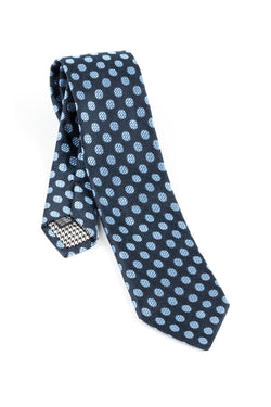 Pure Silk Navy with sky blue checkered Polka dot Tie by Canaletto V1041  Canaletto - Italian Suit Outlet