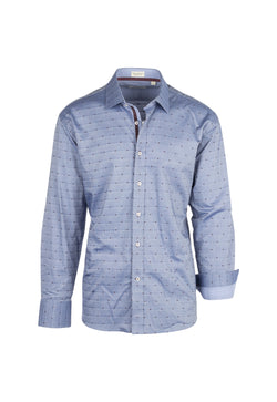 Blue jean with red and blue mini square Modern Fit Sport Shirt by Tiglio Sport V-72178  Tiglio - Italian Suit Outlet