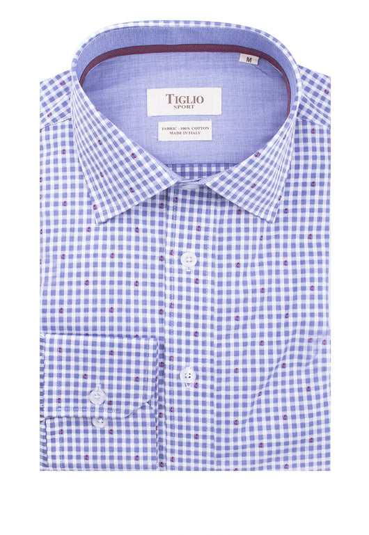 Light Blue and White Check Pattern Modern Fit Sport Shirt by Tiglio Sport V76148  Tiglio - Italian Suit Outlet