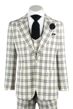 Luca Offwhite with Black Plaid/Check Wide Leg, Pure Wool Suit & Vest by Tiglio Rosso V986.4136/1  Tiglio - Italian Suit Outlet