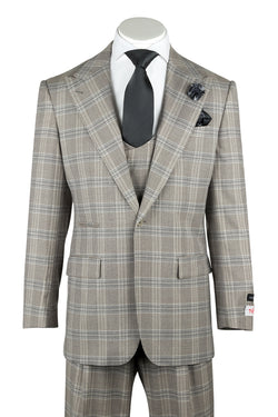 Luca Gray with Darker Gray Windowpane Wide Leg Pure Wool Suit & Vest by Tiglio Rosso V98878F/375/4  Tiglio - Italian Suit Outlet