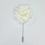 Pacino – White Rose  Flower Lapel Pins - Italian Suit Outlet