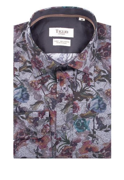 Light Gray with Floral Pattern Modern Fit Sport Shirt by Tiglio Sport POP2107/102B  Tiglio - Italian Suit Outlet