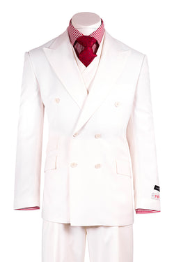 EST OFF-WHITE Wide Leg Pure Wool Suit & Vest by Tiglio Rosso OFF-WHITE  Tiglio - Italian Suit Outlet