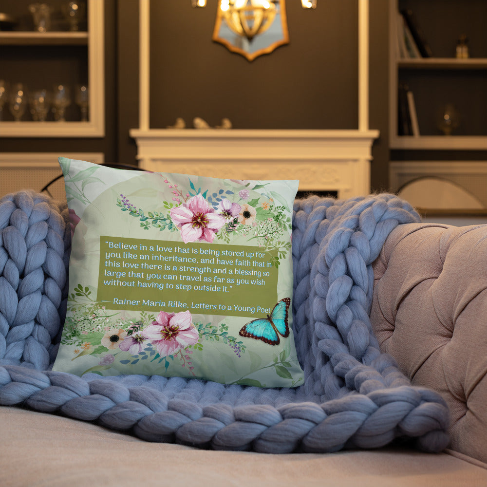 "Ranier Maria Rilke ""Faith"" Pillow"