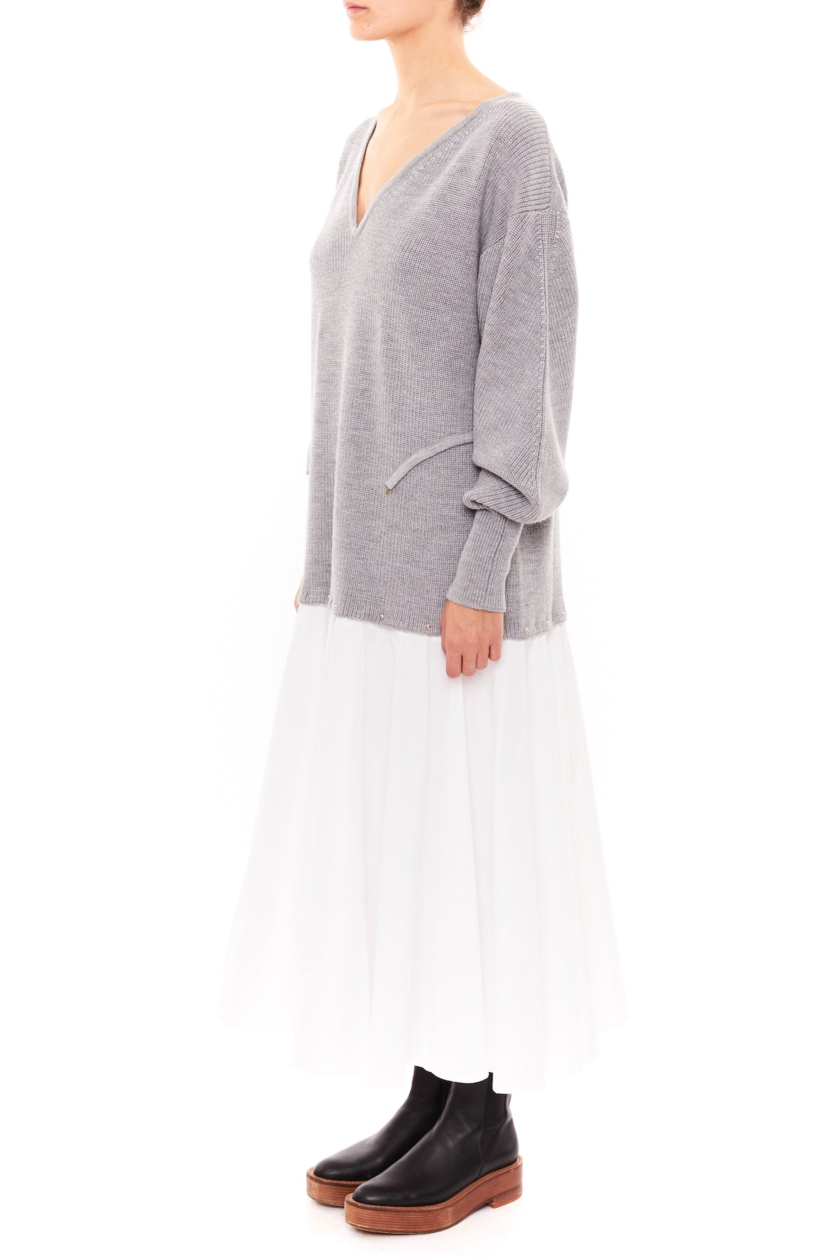 VOLUME SWEATER DRESS WITH BUTTONED SKIRT