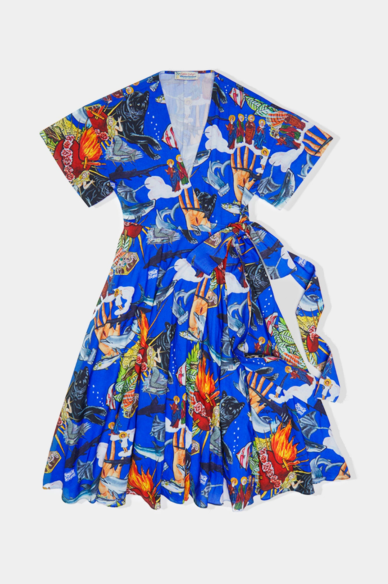 Popular de lujo print wrap dress