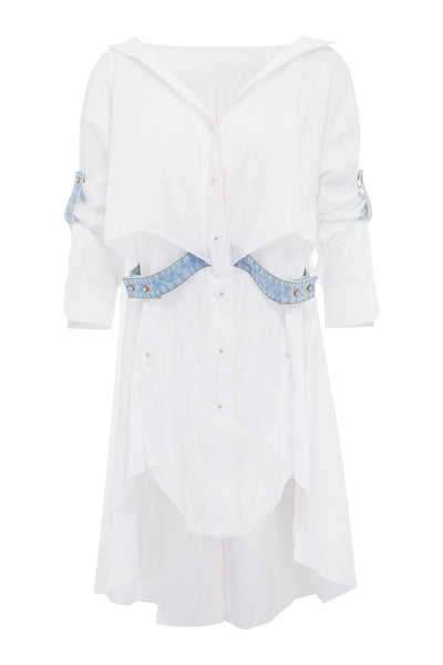 WHITE SHIRT DRESS WITH STRAPS