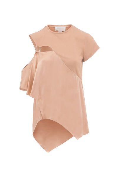 ASYMMETRIC TOP WITH RING AND  SATIN RUFFLE