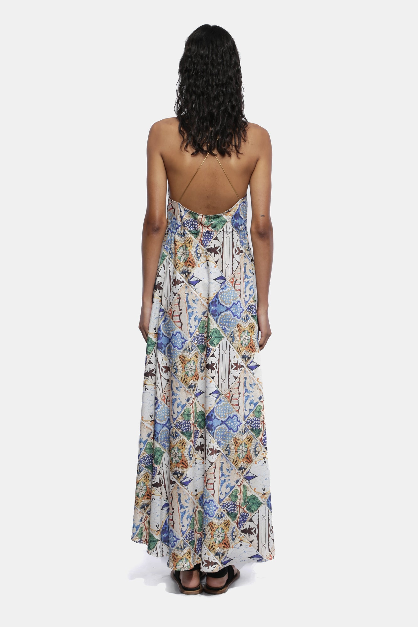 TILE PRINT LONG DRESS