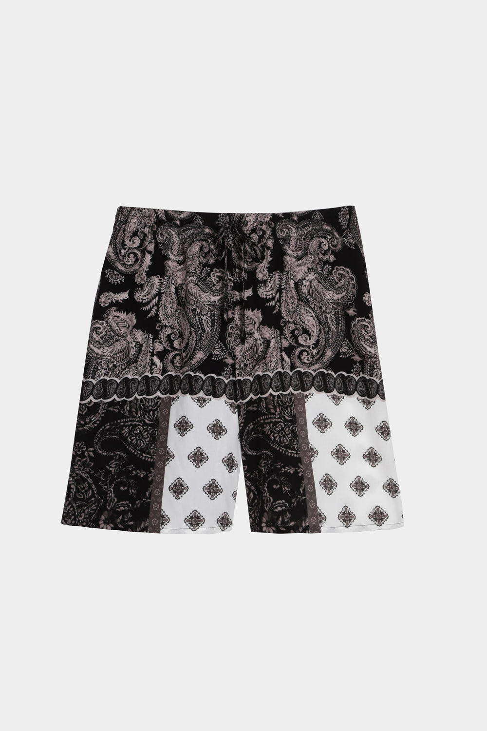Paisley print long drawstring shorts
