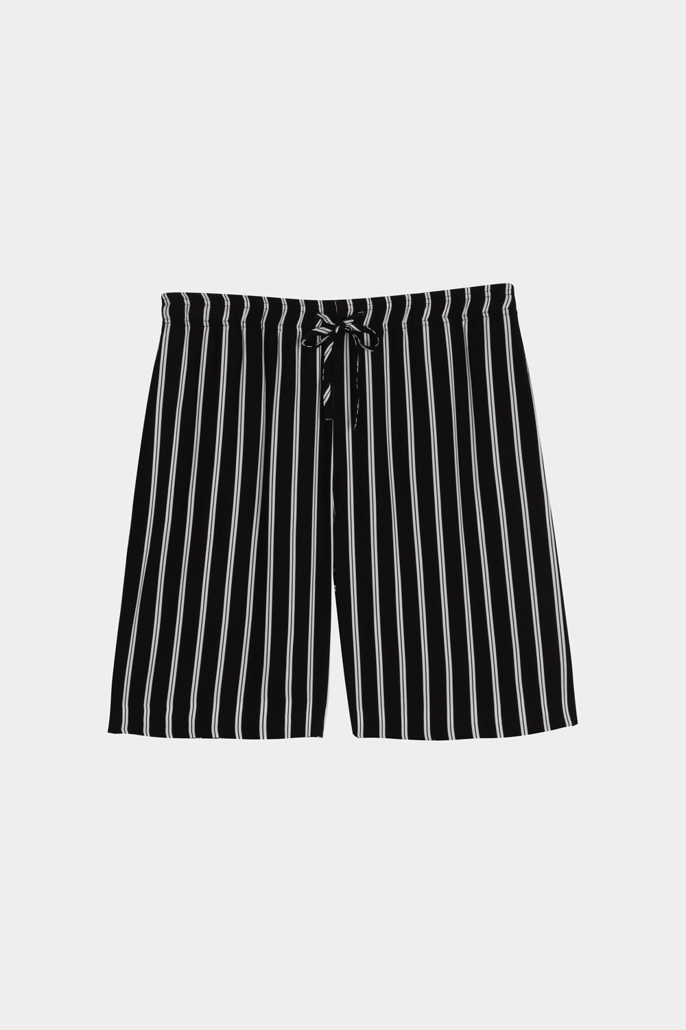 Striped long drawstring shorts