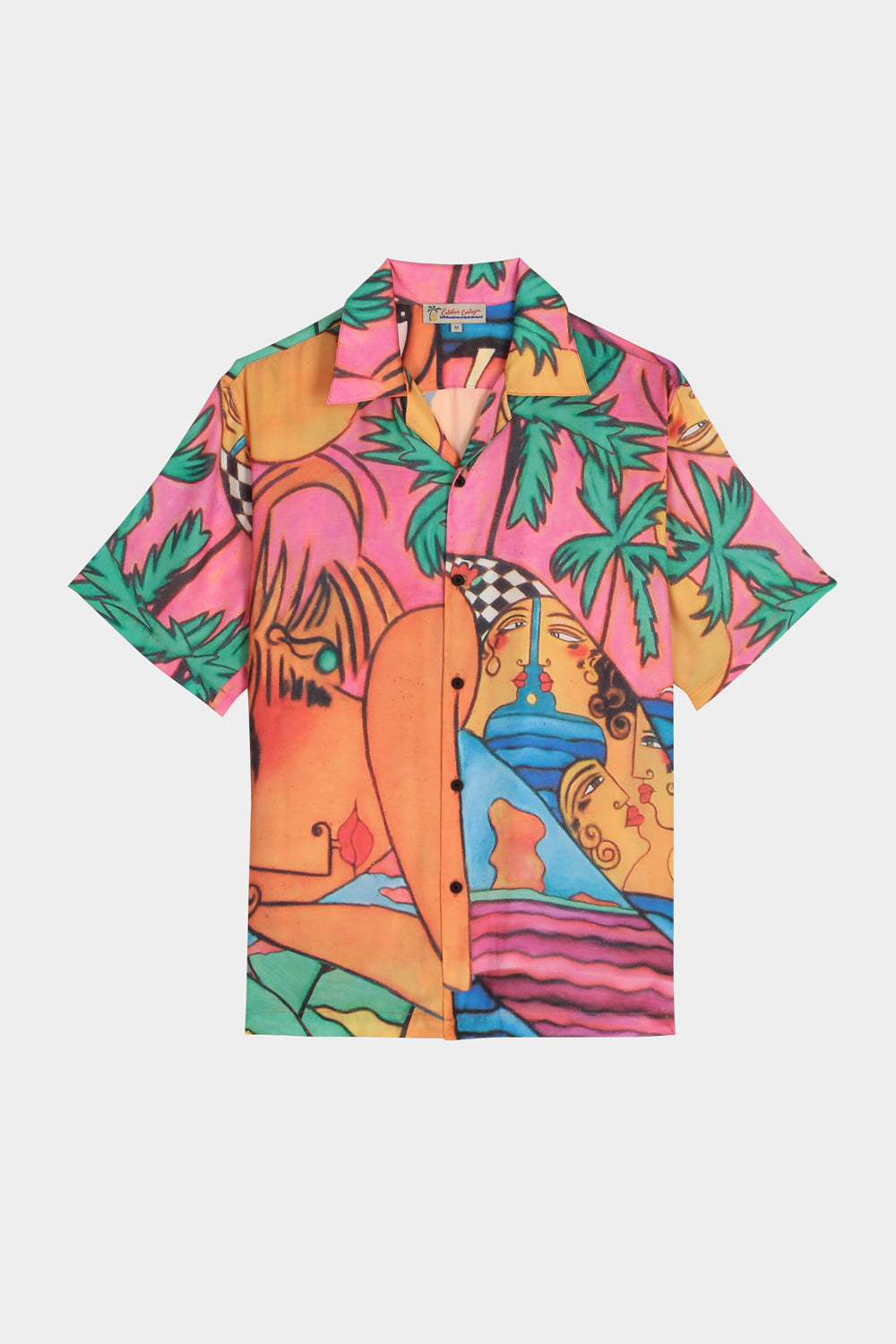 LADY ON THE BEACH PRINT SHORT SLEEVE SHIRT