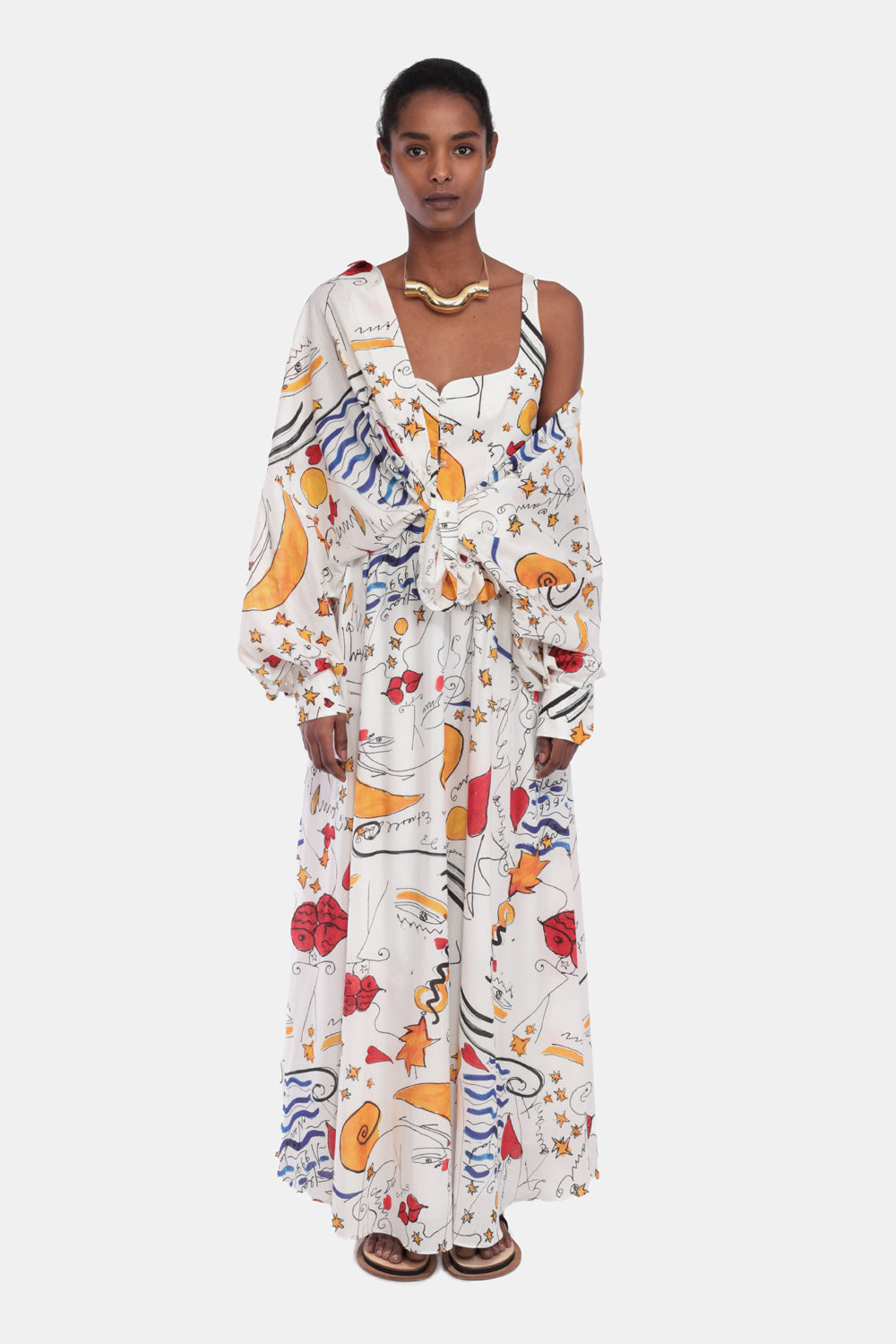MIAMI MI AMOR PRINT LONG CORSET DRESS