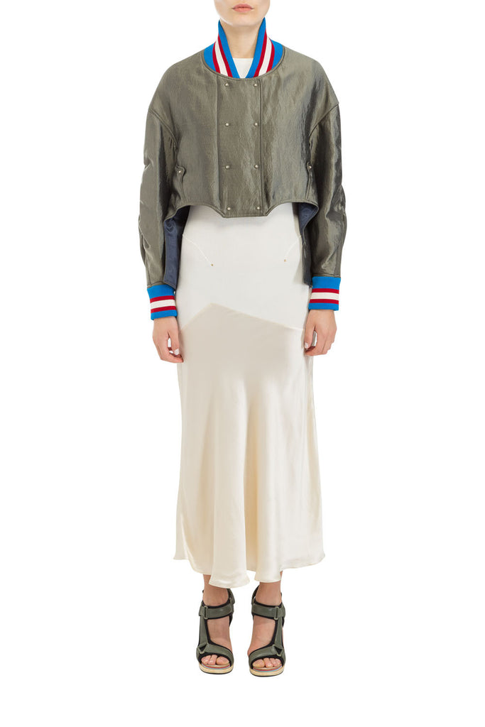 ASYMMETRIC SATIN BOMBER JACKET