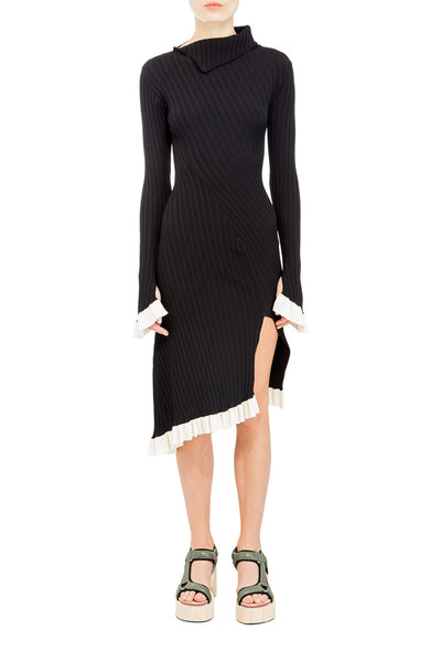 ASYMMETRIC RIB-KNIT DRESS