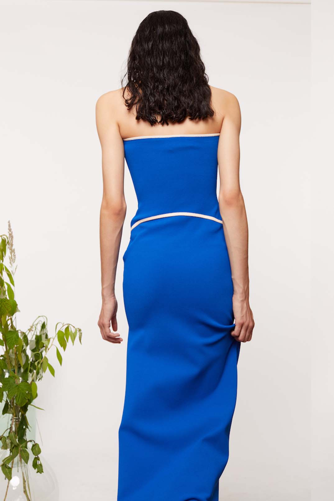 STRAPLESS KNIT COLUMN GOWN