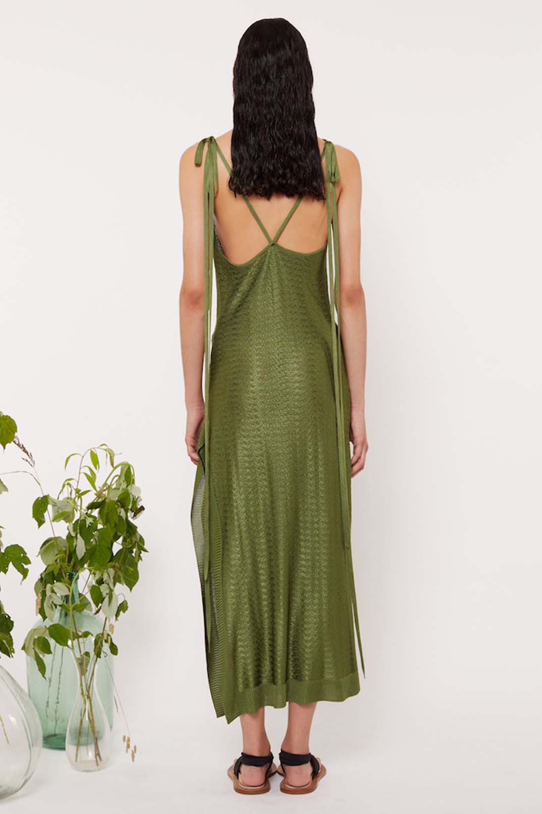 KNIT SHOULDER TIE DRESS - Esteban Cortazar
