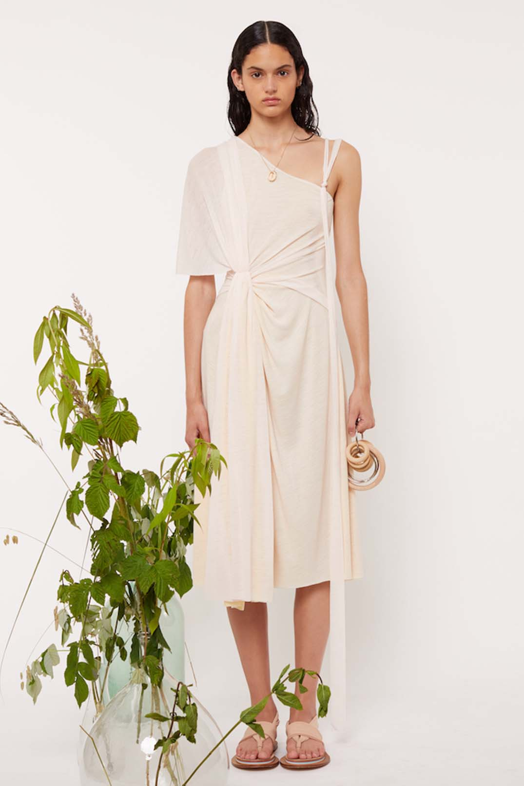 DRAPED SLEEVE ONE SHOULDER DRESS