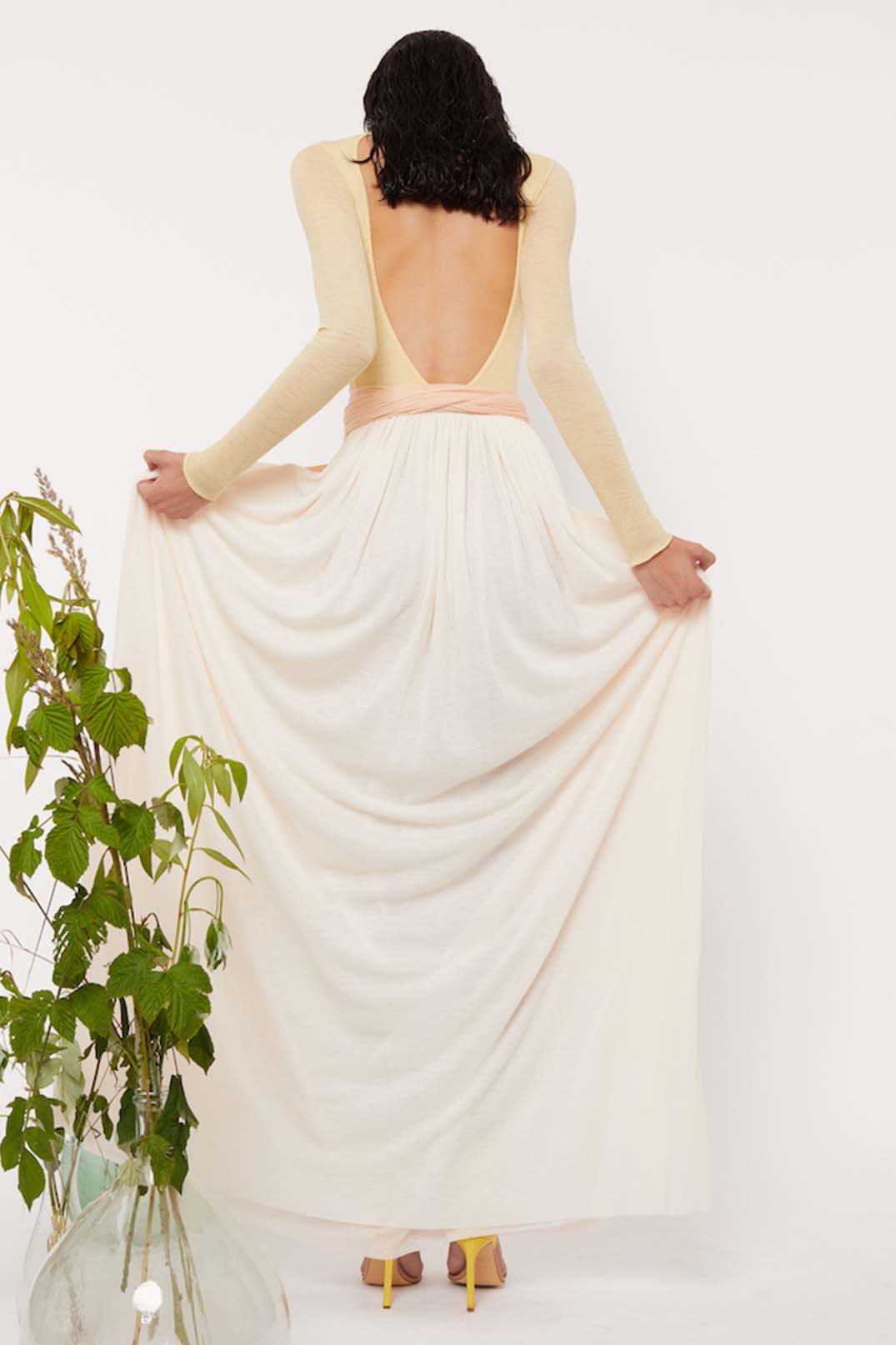 MULTI LAYERED BELTED OPEN BACK GOWN