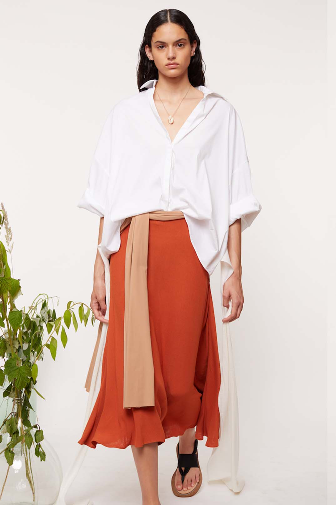 ABSTRACT DRAPED CIRCLE SKIRT