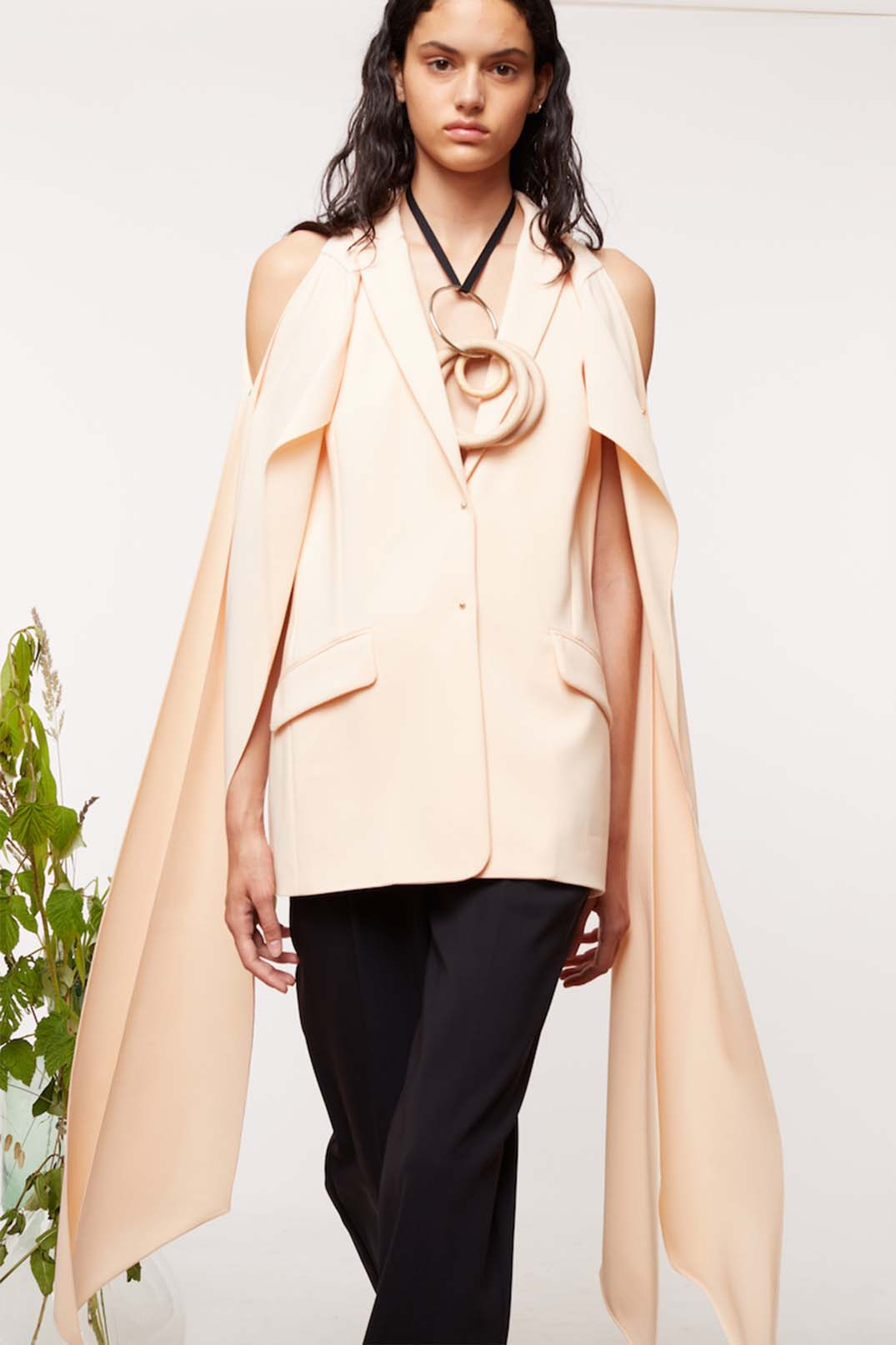 DRAPED SLEEVES TUXEDO JACKET
