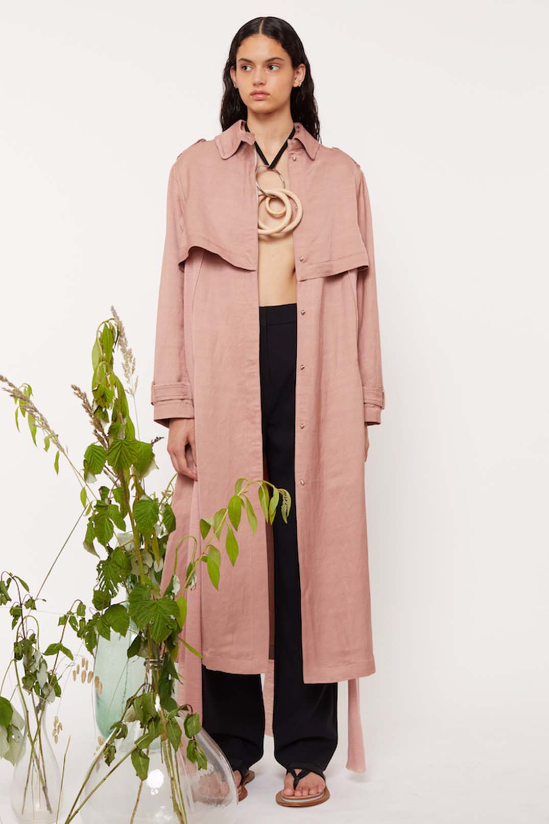 JERSEY BELTED TRENCH COAT