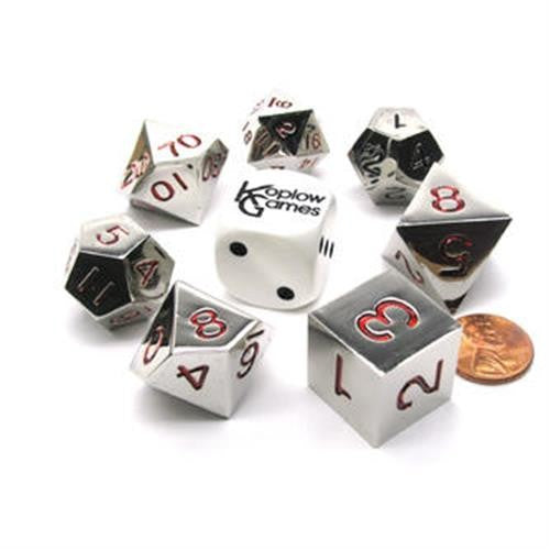 Koplow Dice - Silver with Red Metal Dice - Set of 7 Polyhedral