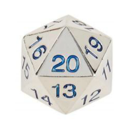 Koplow Dice - Silver with Blue Metal Dice - Countdown D20 with Bag