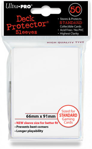 Deck Protectors - Standard Size - 50 Count White Sleeves Ultra Pro | Cardboard Memories Inc.