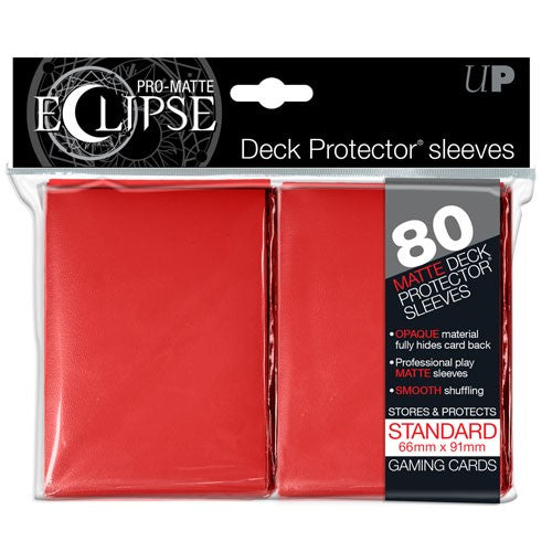 Eclipse Matte Deck Protectors - Standard Size - 80 Count Red Ultra Pro | Cardboard Memories Inc.