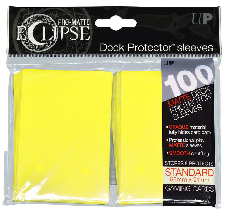 Eclipse Matte Deck Protectors - Standard Size - 100 Count Yellow