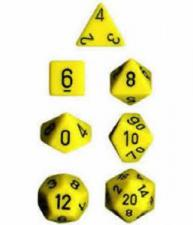Chessex Dice - Opaque Yellow with Black - Set of 7 (CHX 25402) Chessex | Cardboard Memories Inc.