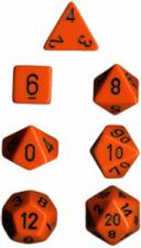 Chessex Dice - Opaque Orange with Black - Set of 7 (CHX 25403) Chessex | Cardboard Memories Inc.