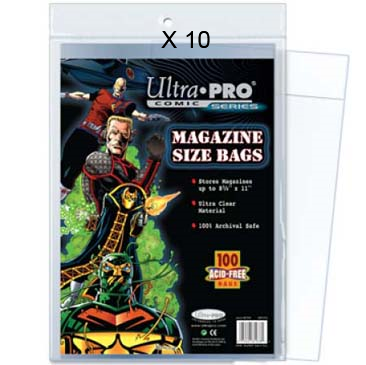 Magazine Bags - Regular (Non-Resealable) - Package of 100 - Case of 10 Ultra Pro | Cardboard Memories Inc.