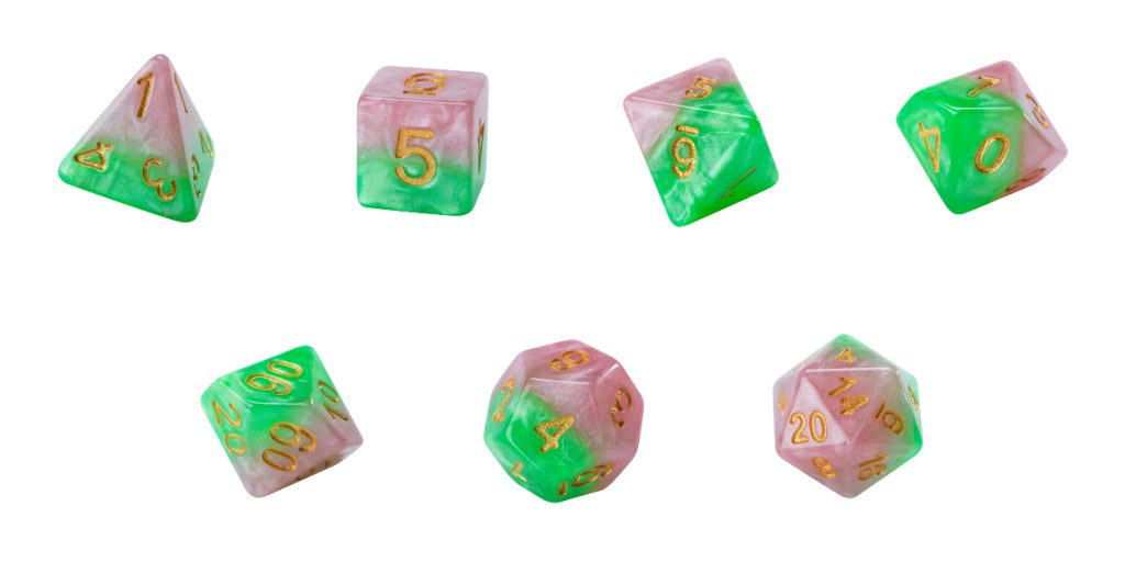 Halfsies Dice - Rose Petal Pink & Thorn Green (Rose Dice) - Set of 7 Gate Keeper Games | Cardboard Memories Inc.