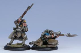Warmachine- Cygnar Trencher Infantry Officer & Sniper Unit Attachment Privateer Press | Cardboard Memories Inc.