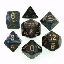 Chessex Dice - Lustrous Shadow with Gold - Set of 7 (CHX 27499) Chessex | Cardboard Memories Inc.
