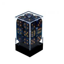 Chessex Dice - Scarab Royal Blue with Gold - Set of 12 D6 (CHX 27627) Chessex | Cardboard Memories Inc.