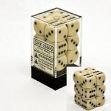 Chessex Dice - Opaque Ivory with Black - Set of 12 D6 (CHX 25600) Chessex | Cardboard Memories Inc.