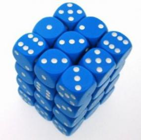 Chessex Dice - Opaque Light Blue with White - Set of 36 D6 (CHX 25816) Chessex | Cardboard Memories Inc.