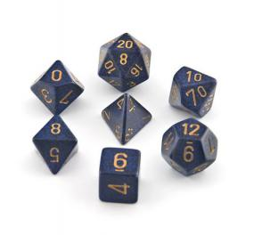 Chessex Dice - Speckled Golden Cobalt - Set of 7 (CHX 25337) Chessex | Cardboard Memories Inc.