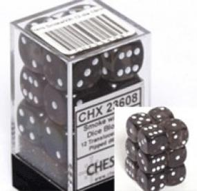 Chessex Dice - Translucent Smoke with White - Set of 12 D6 (CHX 23608) Chessex | Cardboard Memories Inc.