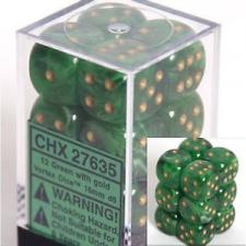 Chessex Dice - Vortex Green with Gold - Set of 12 D6 (CHX 27635) Chessex | Cardboard Memories Inc.
