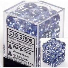 Chessex Dice - Nebula Black with White - Set of 36 D6 (CHX 27808) Chessex | Cardboard Memories Inc.
