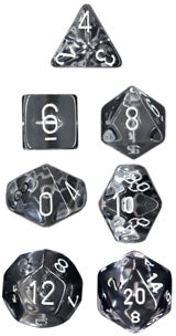 Chessex Dice - Translucent Clear with White - Set of 7 (CHX 23001) Chessex | Cardboard Memories Inc.