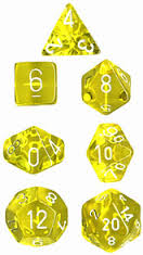 Chessex Dice - Translucent Yellow with White - Set of 7 (CHX 23002) Chessex | Cardboard Memories Inc.