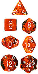 Chessex Dice - Translucent Orange with White - Set of 7 (CHX 23003) Chessex | Cardboard Memories Inc.